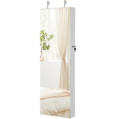 SONGMICS Schmuckschrank hängend, Spiegelschrank mit LED-Innenbeleuchtung, Wandschrank mit Ganzkörperspiegel, Wandmontage, an der Tür hängend, weiß JJC99WT
