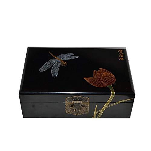 Laogg Chinesische Schmuckschatulle,Schmuckschatulle aus Holz chinesische Aufbewahrungsbox Pingyao Push-Lack Ware Handwerk Schmuck Aufbewahrungsbox Fu Lushou,Chinesische Hochzeit Aufbewahrungsbox