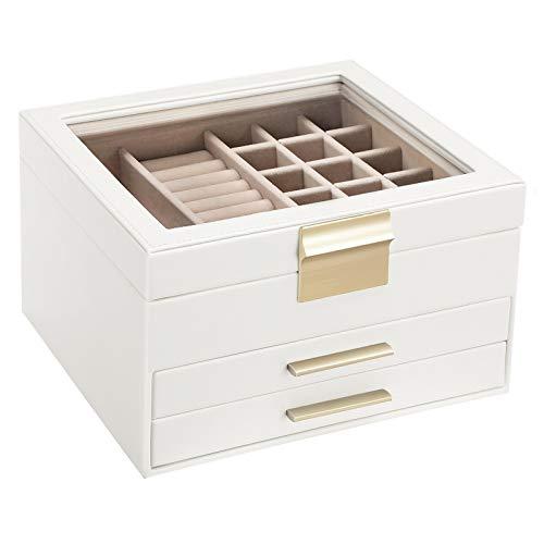 SONGMICS Schmuckkästchen mit Glasdeckel Schmuckkasten mit 3 Ebenen, Schmuckbox mit 2 Schubladen, Schmuckaufbewahrung, Geschenk für Ihre Liebsten, weiß JBC239WT