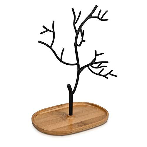 Navaris Schmuckbaum aus Holz und Metall - Schmuckständer für Ketten Ohrringe Ringe - Deko Schmuck Aufbewahrung - Ständer in Schwarz Hellbraun