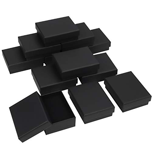 Kurtzy Schmuck Geschenkboxen Schwarz (12 Stk) – 9 x 7 x 3 cm Schmuck Schachtel Geschenkbox Matt - Schmuckschachtel Geschenkschachtel aus Karton mit Schaumstoff für Ohrringe, Ketten, Armbänder, Ringe