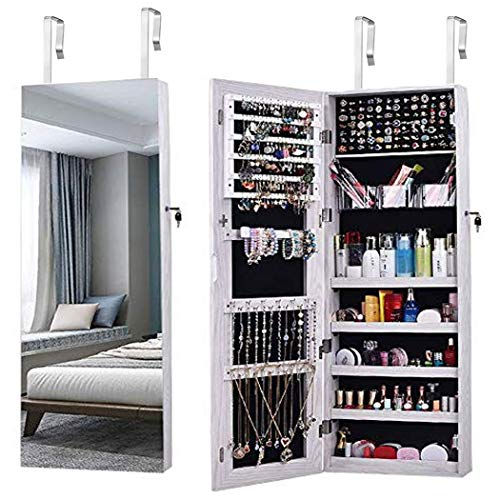Schmuckschrank, AOOU Schmuckschrank mit, Mit 3 Multifunktionsboxen, Geschlossener Schmuckschrank und Wandspiegel, Große Kapazität,Hängend, Kann an Türen, Wänden und Schränken Aufgehängt Werden-Weiß