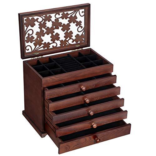 SONGMICS Schmuckkästchen aus Holzwerkstoff, Schmuckschatulle mit 6 Ebenen, Schmuck-Organizer mit 5 herausziehbaren Schubladen, Schmuckbox mit floralen Schnitzereien, Geschenkidee, Dunkelbraun JBC56W