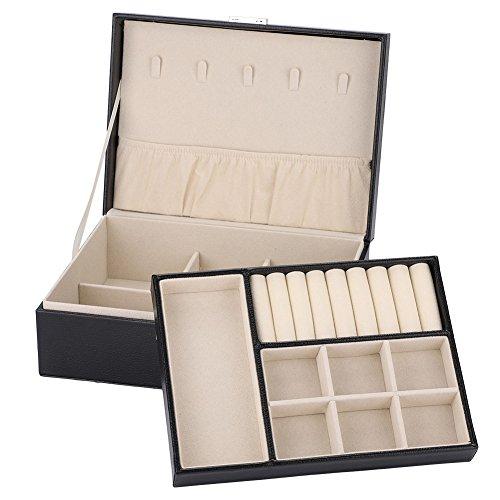 Halskette Schmuck-Box, Hohe Kapazität Schmuck Ohrringe Ringe Armband Halskette Box Organizer Lagerung Leder Schmuckkasten für Reisen (Schwarz)